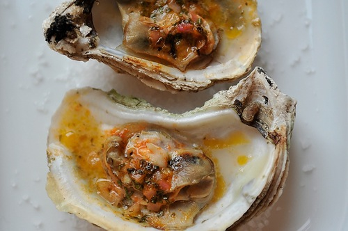 Grilled (or Broiled) Oysters with a Sriracha Lime Butter from Food52
