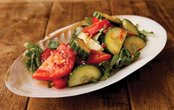 Spicy tomato + cucumber salad