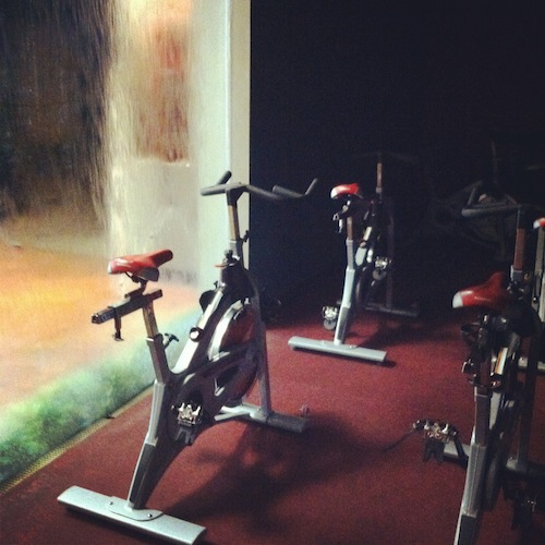 Check out the water wall beside the spin studio