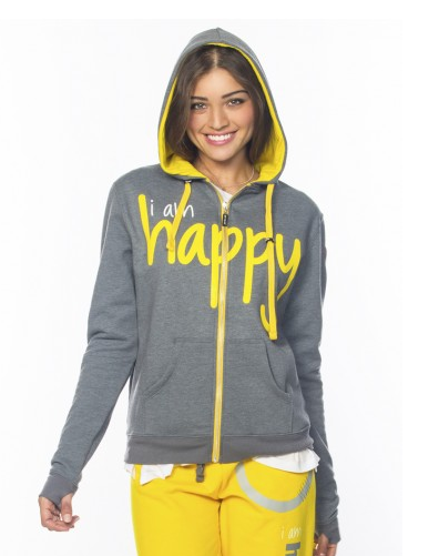 Peace Love World I Am Happiness L2L Chrome Zip-Up Hoodie, $136