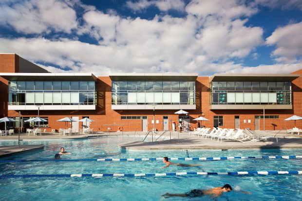 Features rock climbing wall, three-court gym and swimming pool