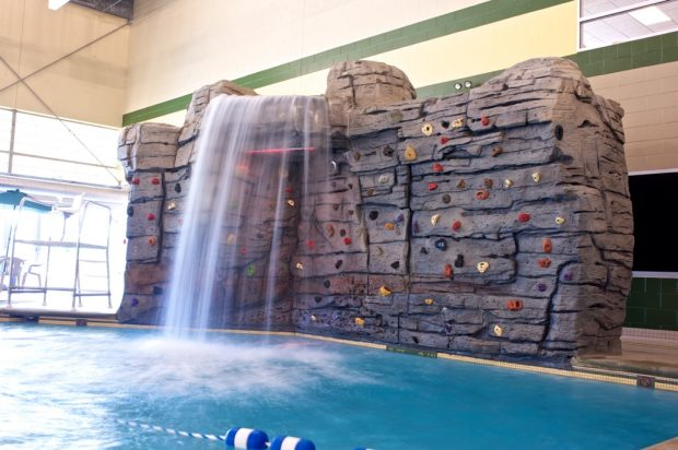 The aquatics center alone has a lazy river, a climbing wall, and an on-deck sauna and steam room