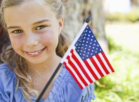 May 24 Girl with Memorial Day Weekend Flag